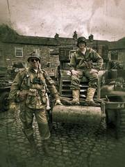 GIs (tubblesnap) Tags: grassington 1940s weekend reenactment wartime war ww2 nostalgia motorola motog3 snapseed soldier car vehicle classic military