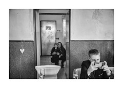 Look there (Paphylo) Tags: tattoo caravan people lady evening dinner countryside weddingindoor carnies monochrome přelouč show groom blackandwhite nikond810 carny village countrylife document