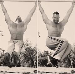 hanging leg raises (ddman_70) Tags: shirtless pecs abs muscle workout outdoor sweatpants