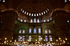 Inside The Blue Mosque (itchypaws) Tags: interior 2018 istanbul turkey europe holiday vacation sultan ahmed ahmet mosque camii blue inside lights