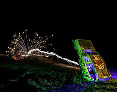 024693763761-105-Night Time Car Wars-1 (Jim There's things half in shadow and in light) Tags: 2018 america milkyway mojavedesert nevada night september southwest usa carforestofthelastchurch fireworks goldfield lightpainting