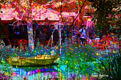 Afternoon Lunch (brillianthues) Tags: water boat reflection restaurant dining nature colorful collage photography photmanuplation photoshop