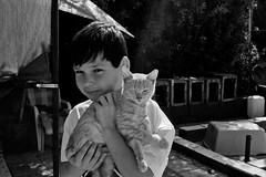 New Friend (The_Kevster) Tags: cat feline moggie person portrait boy tala cyprus catsanctuary paphos monochrome bw blackandwhite nikon dslr d3300 trees bokeh expression light shadows