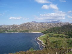 Gruinard Bay Viewpoint, Wester Ross, May 2018 (allanmaciver) Tags: gruinard bay wester ross west coast scotland height viewpoint blue sky sea water clouds warm sunny fence marvellous beautiful scenery allanmaciver