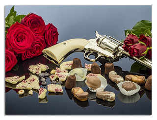 Guns and roses with chocolate.