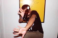 DJ Killer party (Gary Kinsman) Tags: fujifilmxpro1efx20 efx20 flash slowsync slowsyncflash clapton fujix100t fujifilmx100t 2018 london hackney e5 party houseparty pose posed portrait portraiture people person highiso late night longexposure slowshutterspeed 1second hands beer bottle shield hide