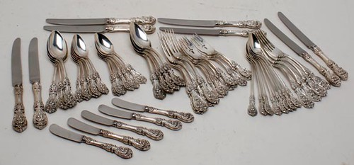 Fine set of 70 piece Reed & Barton Francis 1st Sterling Flatware and shakers ($1.596.00)