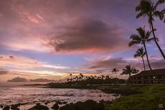 Poipu Sunset (lycheng99) Tags: poipu kauai sunset clouds color palmtree trees coast beach water ocean pacificcoast travel travelhawaii travelkauai tropical dusk vacation
