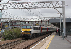 Abellio Greater Anglia . 90007 . Stratford Station , East London . Wednesday 12th-September-2018 . (AndrewHA's) Tags: stratford london railway station train abellio greater anglia class 90 electric locomotive loco 90007 sir john betjaman 1p23 norwich liverpool street express passenger working crewe works built brel