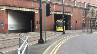 VIDEO == Manchester -- Metro Tram coming out of the Tunnel at Piccadilly Railway Station onto London Road