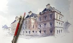 Jardin du Luxembourg, Paris (alexhillkurtzart) Tags: watercolor urbansketch usk paris