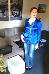 Hi there... (Rikky_Satin) Tags: silk satin blouse denim jeans pants pumps highheels handbag crossdresser transgender transvestite tgirl tgurl gurl casual feminine sissy