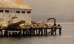 A GOVERNMENT DOCK AND MARINA.  ALERT BAY, VANCOUVER ISLAND,  BC. (vermillion$baby) Tags: alertbay pacificnorthwest vancouverisland abandoned blue boat dock marina ocean old pier rust sea wharf white wreck yellow northernvancouverisland