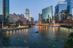 Kayakers (20180810-DSC06908-Edit) (Michael.Lee.Pics.NYC) Tags: chicago chicagoriver river wolfpoint kayakers tour boats twilight night bluehour architecture cityscape construction skyline reflection riverwalk composite sony a7rm2 voigtlanderheliar15mmf45