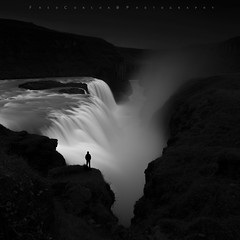 When you stand at the edge of the cliff jump to fly not to fall (FredConcha) Tags: gulfoss waterfall blackandwhite fredconcha alone clifs falls nikond800 iceland