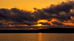 Fire in the Sky (Bob's Digital Eye) Tags: aug2018 bobsdigitaleye canon canonefs1855mmf3556isll clouds flicker flickr glow glowing laquintaessenza lake lakesunset lakesunsets orange outdoor reflection skies sky smokepollution sun sunset sunsetsoverwater t3i water