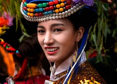 Mosuo Bridesmaid (Rod Waddington) Tags: china yunnan bridesmaid wedding mosu minority traditional tribe tribal culture cultural portrait people costume outdoor beads
