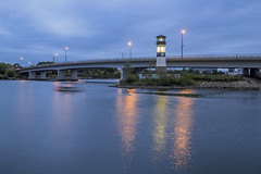 Twilight Boat Traffic at Boom Island (Sam Wagner Photography) Tags: boom island urban lighthouse long exposure twilight dusk blue hour boat boating blur icon landmark plymouth avenue bridge mighty mississippi river water summer architecture minneapolis minnesota midwest