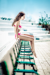 Krizia (Vagelis Pikoulas) Tags: summer athens portrait woman women girl girls beautiful beauty swimsuit bench canon 6d sigma art f14 august 2018 photography photoshoot day sunny