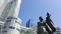 Statue from Defense (Mostesare) Tags: statue la defense skyscrapers glass