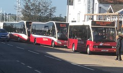 Borders Buses all 3 Red and Cream At Berwick Golden Square (Daniely buses) Tags: 11312 berwickhoppaservice serviceb2 service60 11104 yj11ejz ya13aeo optareversa 10712 p600wcm westcoastmotors wcm optaresolo bordersbuses