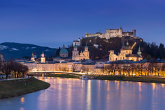The Sound of Dusk | Salzburg, Austria (v on life) Tags: salzburg austria dusk twilight bluehour blue longexposure water river reflections light fortress
