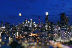 Full Moon in Blue Dreams of Toronto (Katrin Ray) Tags: fullmooninbluedreamsoftoronto julymoon micromoon moon 2018 july moonrising fullmoon composite clouds glow moonrise pink bluehour sky toronto ontario canada katrinray dreamscapesoftoronto canonphotography canon eos rebel t6i 750d tiltshift