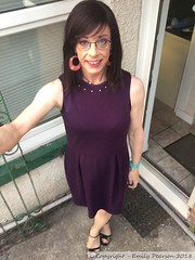 July 2018 - a night in purple (Girly Emily) Tags: crossdresser cd tv tvchix tranny trans transvestite transsexual tgirl tgirls convincing feminine girly cute pretty sexy transgender boytogirl mtf maletofemale xdresser gurl glasses dress tights hose hosiery stilettos highheels outdoor purple