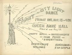 Poster for City Light dance, 1929 (Seattle Municipal Archives) Tags: seattlemunicipalarchives seattle ephemera posters queenanne dances 1920s seattlecitylight