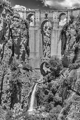Ronda Spain, The bridge (Only photoshoot, don't be afraid) Tags: ronda spain bridge architecture bw black white nikon fountain stone blackandwhite