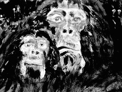 Night Vision (giveawayboy) Tags: pencil crayon water eraser sketch drawing art acrylic paint painting fch tampa artist giveawayboy billrogers wmotf night vision chimpanzee ape primate forest greatape pongid haplorhine catarrhine simian hominid pan pantroglodytes charcoal