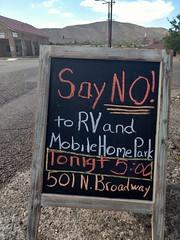 Say No to RV and Mobile Home Park (EllenJo) Tags: chalk chalkboard rvpark protest broadway clarkdale arizona sayno
