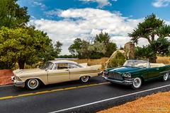 MOPAR Landsharks (Ken Hendricks and Larry Patchett) Tags: franklinmint 1957 chrysler 300c danburymint 1958 plymouth fury 124scale diecast model cars trees rocks road