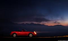 Mazda MX5 NA (antof1 - av-photography.fr) Tags: mazda mx5 na miata red rouge cars night shoot mountain montagne pyrénées pyrénnées col daubisque rosso pop up headlights samsung light fuji fujifilm x100f x100 xseries fujilove