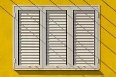 White window and shadows (Jan van der Wolf) Tags: map18277v window raam shutter white wit yellow fuerteventura shadowplay schaduw schaduwen schaduwspel shadows
