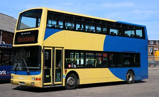 Still wearing Lancashire United base livery is The Keighley Bus Company (Transdev Yorkshire) 440 YD02UNB on loan at York for racecourse shuttles.