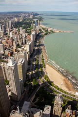 Chicago (Karen_Chappell) Tags: travel city lake cityscape skyline usa illinois chicago architecture buildings beach lakemichigan shoreline shore water urban downtown road street