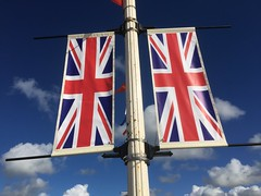 Side by Side. (Bennydorm) Tags: twin sunny sky clouds sidebyside resort septembre september iphone6s inglaterra inghilterra angleterre europe uk britain england lancashire blackpool british daytrip awaydays seaside pier unionjack flags duo pair 2 two