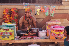 Gulal Vendor, Vrindavan India (AdamCohn) Tags: abeer adamcohn bankebiharimandir hindu india shribankeybiharimandir vrindavan gulal holi pilgrim pilgrimage अबीर गुलाल होली