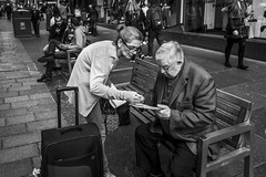Direction (Leanne Boulton (Away)) Tags: people urban street candid portrait streetphotography candidstreetphotography streetlife old elderly man woman male female face expression bench hand gesture map tone texture detail depth naturallight outdoor light shade city scene human life living humanity society culture lifestyle canon canon5dmkiii wideangle 24mm ef2470mmf28liiusm black white blackwhite bw mono blackandwhite monochrome glasgow scotland uk