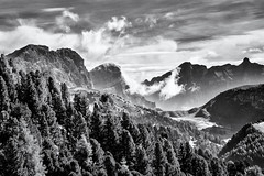 Morning View... (Ody on the mount) Tags: dolomiten em5ii omd olympus urlaub bw sw monochrome mountains berge clouds wolken himmel mzuiko6028