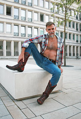 jeans and sendra boots_4723 (picman1108) Tags: man male jeans boots cowboyboots sendra crotch tight chest hairychest beard bearded