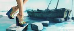 Aruba, Jamaica, oh I want to take you to Bermuda, Bahama (Neva Valon) Tags: sl secondlife purepoison sandals heels shoes footwear beach ocean ship boat sea shore feet maitreya female bento blog blogger lotd seaside avatar virtual