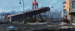 Fallout 4 (screenreel) Tags: fallout4 wasteland postapocalypse abandoned graphics videogame engine bethesda road grass day sky cloudy building gasstation redrocket streetlights vaulttec