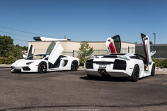 Brothers In Arms (Hunter J. G. Frim Photography) Tags: supercar colorado denver lamborghini aventador lp7004 white bianco v12 awd coupe italian carbon lamborghiniaventador lamborghiniaventadorlp7004 murcielago lp6404 lamborghinimurcielago