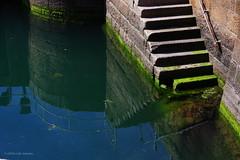 3KB05443a_C (Kernowfile) Tags: cornwall cornishharbours water penzance steps seaweed reflections pentax