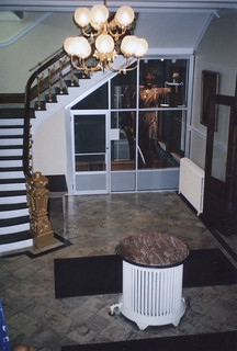 Jamestown New York - Gov. Reuben Fenton Mansion - Lobby area - Statue of Justice from Old Courthouse