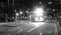 waiting for the last tram 04 (byronv2) Tags: edinburgh edimbourg scotland blackandwhite monochrome blackwhite bw westend tram transport publictransport night nuit nacht edinburghbynight rails tramstop platform newtown