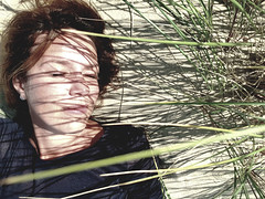 By the Baltic Sea 25 (rimasjank) Tags: nida sand shadow face portrait beach grass portret ritratto retratos femme