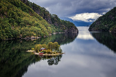 Breeze of solitude (Ornaim) Tags: lovra fjord norway norge norvege lovrafjorden island oy ile landscape nature small reflections rogaland ryfylke sea water cloud forest mountain travel rv13 nikon d850 70200